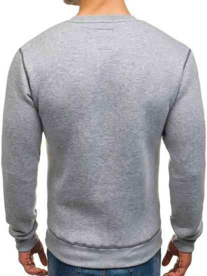 Bluza męska bez kaptura z nadrukiem szara Denley 0530-1