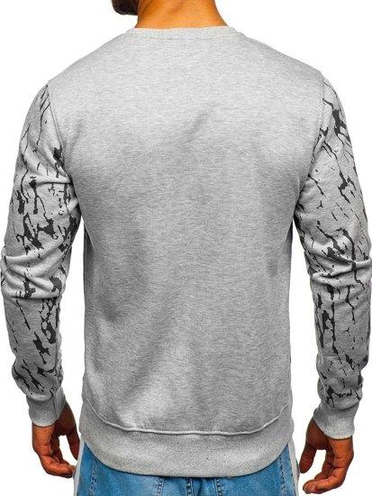 Bluza męska bez kaptura z nadrukiem szara Denley DD15