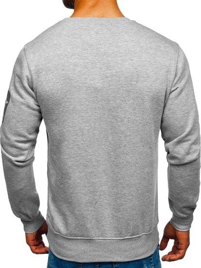 Bluza męska bez kaptura z nadrukiem szara Denley J88