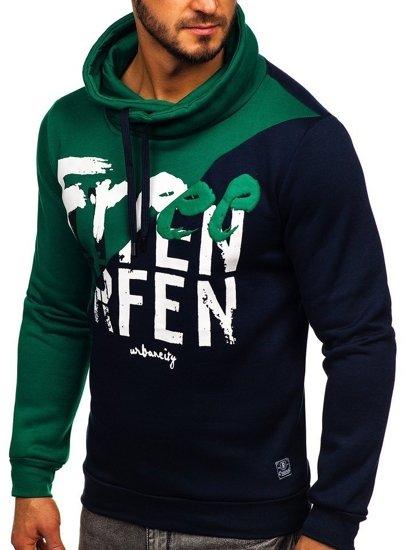 Bluza męska bez kaptura z nadrukiem zielona Denley HY607