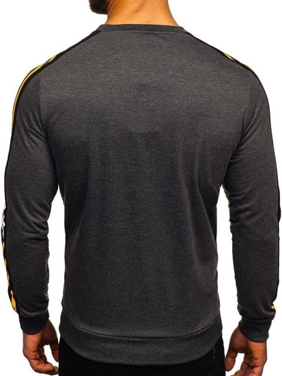 Bluza męska bez kaptura z nadrukiem żółta Denley HY542