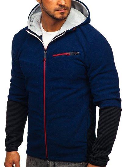 Bluza męska polar z kapturem granatowy Denley YL005