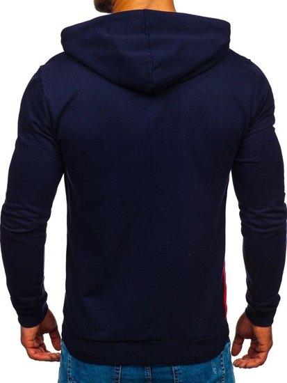 Bluza męska z kapturem granatowo-czerwona Bolf 145367