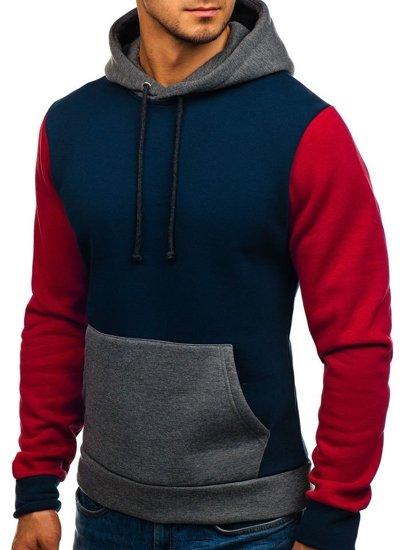 Bluza męska z kapturem granatowo-czerwona Denley 9060