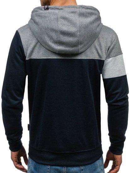 Bluza męska z kapturem granatowo-grafitowa Denley HL02