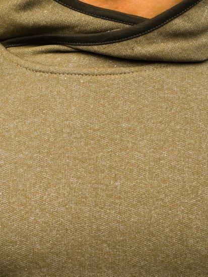Bluza męska z kapturem khaki Denley 1685