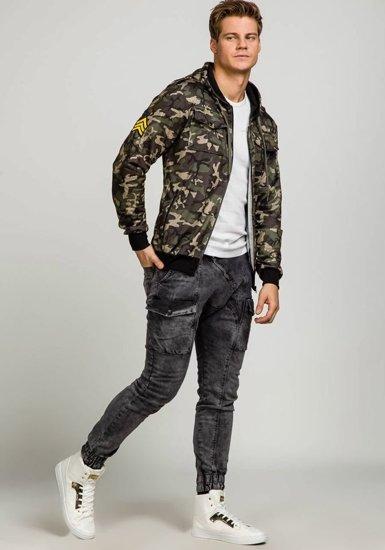 Bluza męska z kapturem moro-khaki Denley 2823