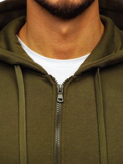 Bluza męska z kapturem rozpinana oliwkowa Denley 2008-A