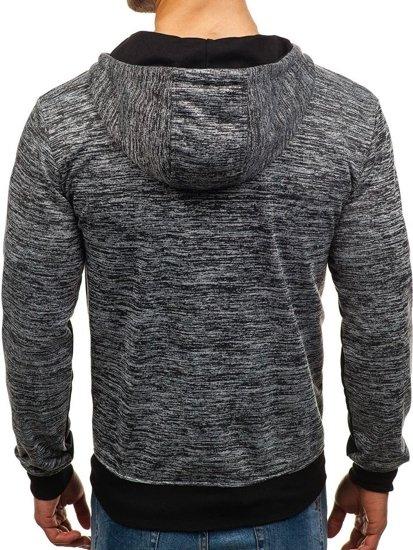 Bluza męska z kapturem rozpinana ciemnoszara Denley TT79