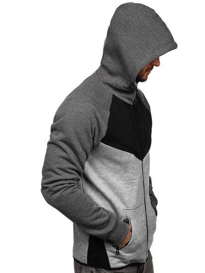 Bluza męska z kapturem rozpinana czarna Denley 80688