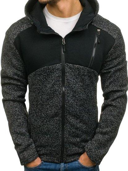 Bluza męska z kapturem rozpinana czarna Denley AK41