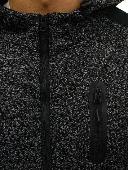 Bluza męska z kapturem rozpinana czarna Denley AK44