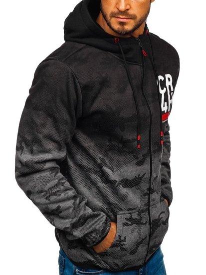 Bluza męska z kapturem rozpinana grafitowa Denley DD84-1