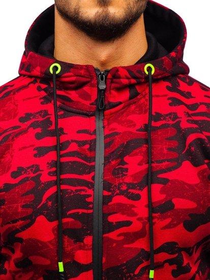 Bluza męska z kapturem rozpinana moro-czerwona Denley DD99-1