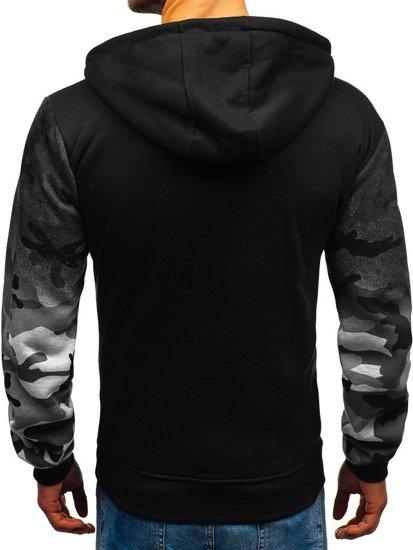 Bluza męska z kapturem rozpinana moro-szara Denley 33008