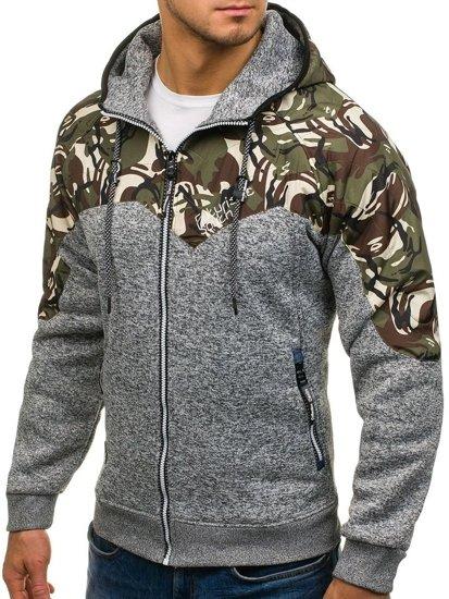 Bluza męska z kapturem rozpinana moro-szara Denley HH502