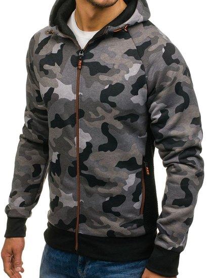 Bluza męska z kapturem rozpinana moro-szara Denley W1379