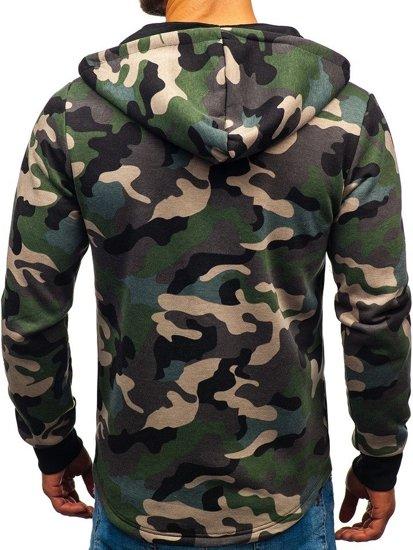 Bluza męska z kapturem rozpinana moro-zielona Denley W1380
