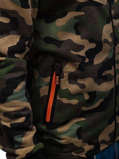 Bluza męska z kapturem rozpinana moro-zielona Denley W1381