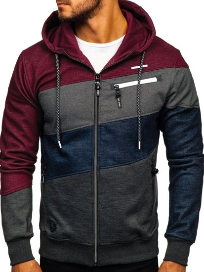 Bluza męska z kapturem rozpinana multikolor Denley 2103A