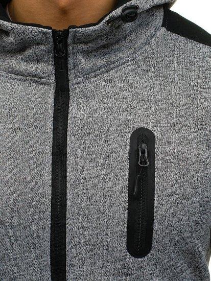 Bluza męska z kapturem rozpinana szara Denley AK44