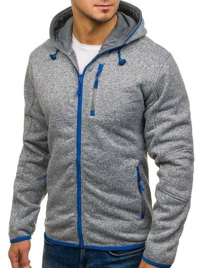 Bluza męska z kapturem szaro-niebieska Denley 3563