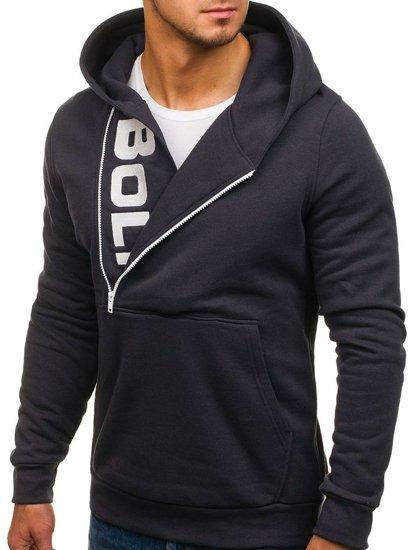 Bluza męska z kapturem z nadrukiem ciemnografitowa Bolf 01S