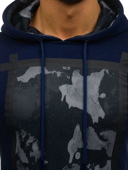 Bluza męska z kapturem z nadrukiem ciemnogranatowa Denley 9088