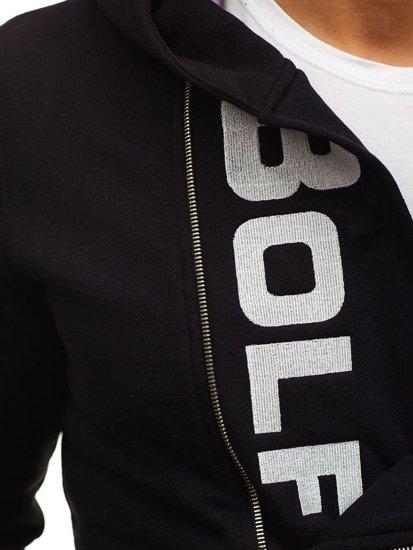 Bluza męska z kapturem z nadrukiem czarna Bolf 01S-ZM