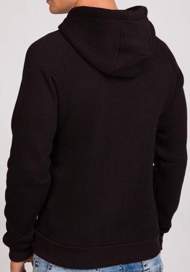 Bluza męska z kapturem z nadrukiem czarna Denley 0513