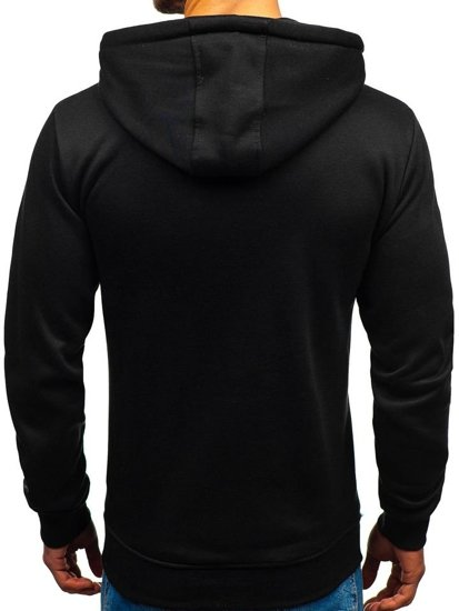 Bluza męska z kapturem z nadrukiem czarna Denley 11029