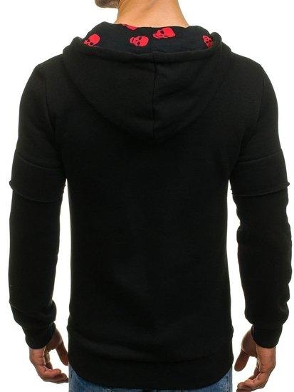 Bluza męska z kapturem z nadrukiem czarna Denley 171588