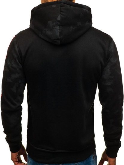 Bluza męska z kapturem z nadrukiem czarna Denley DD210