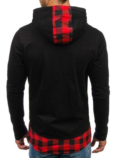 Bluza męska z kapturem z nadrukiem czarno-czerwona Denley 0786