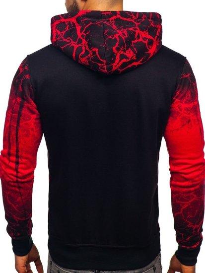 Bluza męska z kapturem z nadrukiem czerwona Denley DD267