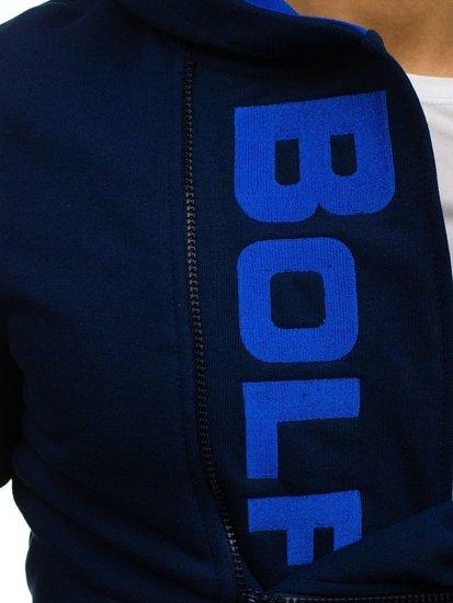 Bluza męska z kapturem z nadrukiem granatowa Bolf 01S