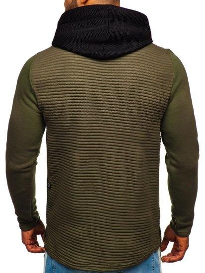Bluza męska z kapturem z nadrukiem khaki Denley 9105