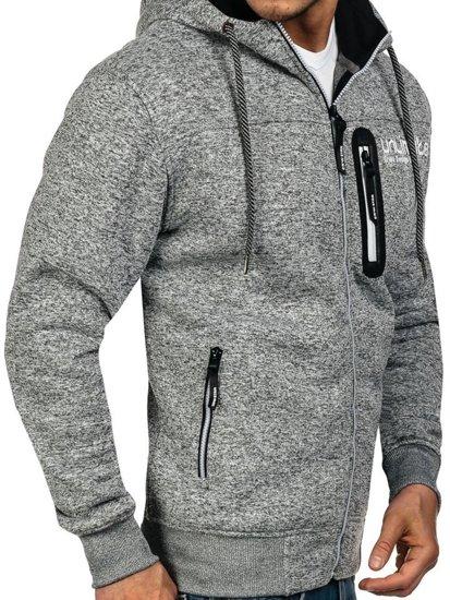 Bluza męska z kapturem z nadrukiem szara Denley 3656