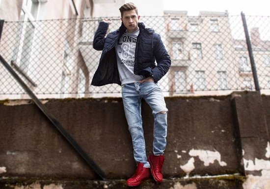 Buty męskie czerwone Denley 3018