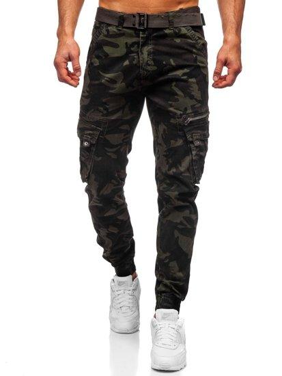 Ciemnozielone spodnie joggery bojówki moro męskie z paskiem Denley CT6015