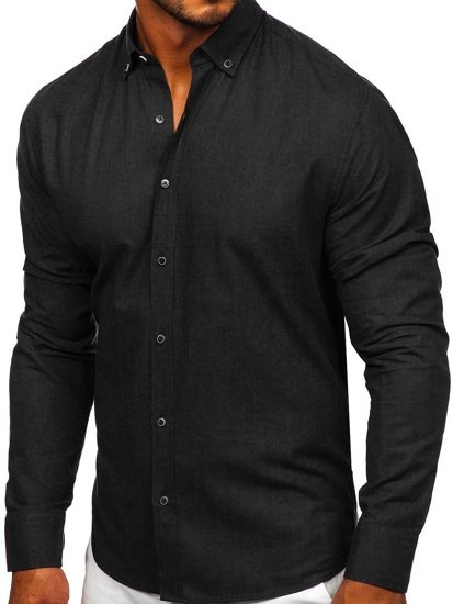 Czarna bawełniana koszula męska z długim rękawem Bolf 20701