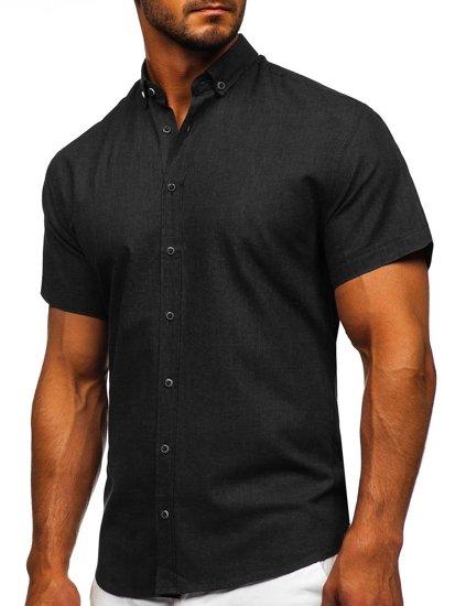 Czarna bawełniana koszula męska z krótkim rękawem Bolf 20501