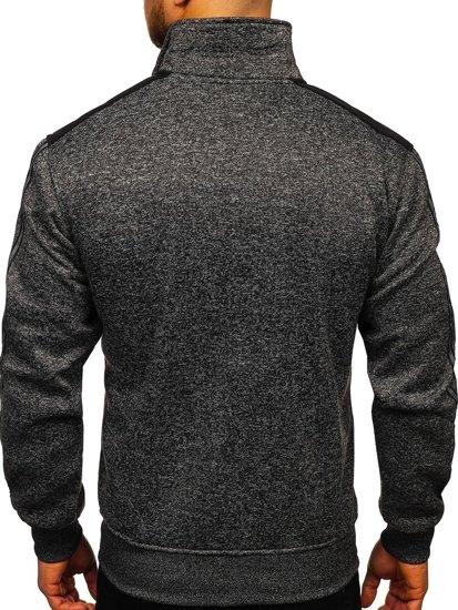 Czarna bez kaptura bluza męska rozpinana Denley TC976