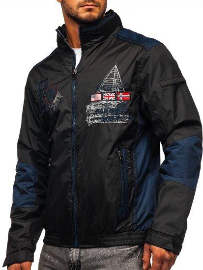 Czarna kurtka męska przejściowa Denley 743