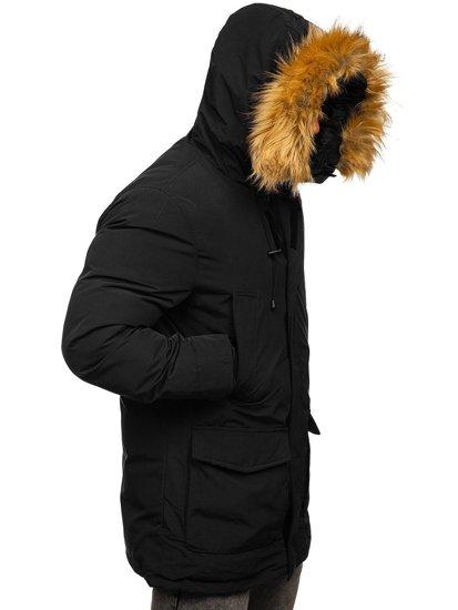 Czarna kurtka męska zimowa parka Denley 1173