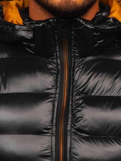 Czarna pikowana kamizelka męska z kapturem Denley 6506