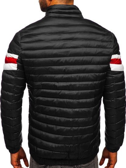 Czarna pikowana przejściowa kurtka męska sportowa Denley 6574