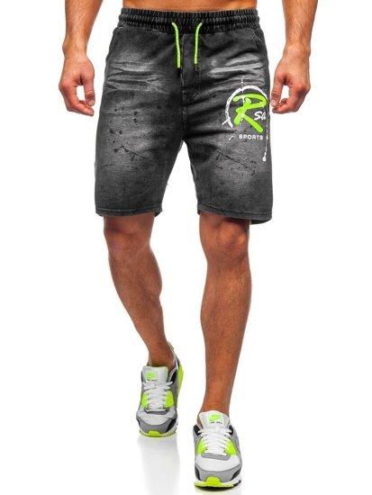 Czarne jeansowe krótkie spodenki męskie Denley KK1075