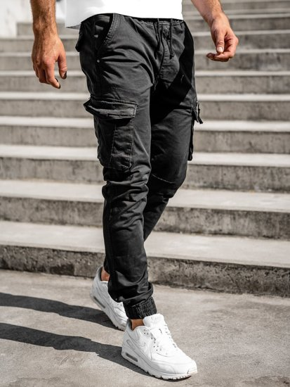 Czarne spodnie joggery bojówki męskie Denley 8978