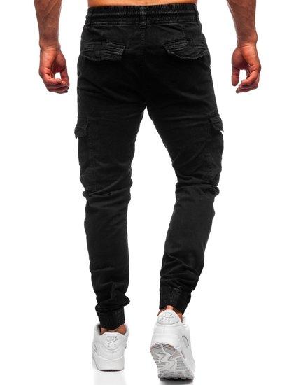 Czarne spodnie joggery bojówki męskie Denley CT6705